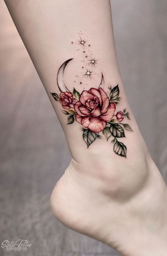 Moon & Rose Tattoo - InkStyleMag