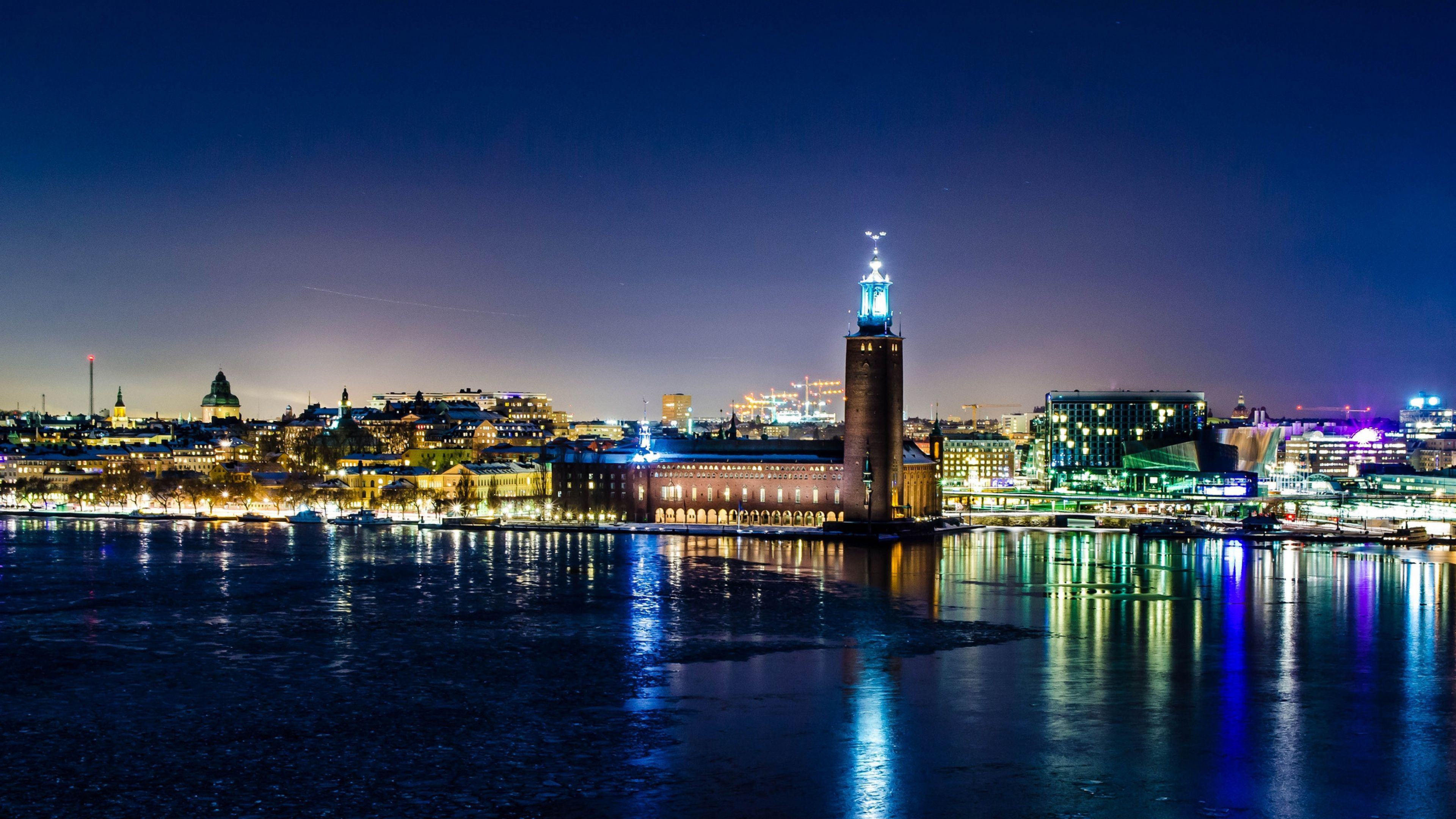 3840x2160 Wallpaper Sweden Stockholm Winter Night City Hall Lights Reflection Seni
