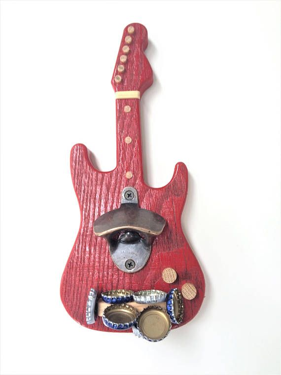 Bottle Opener, Guitar shaped, wall mounted opener, with magnetic catch #palettendeko