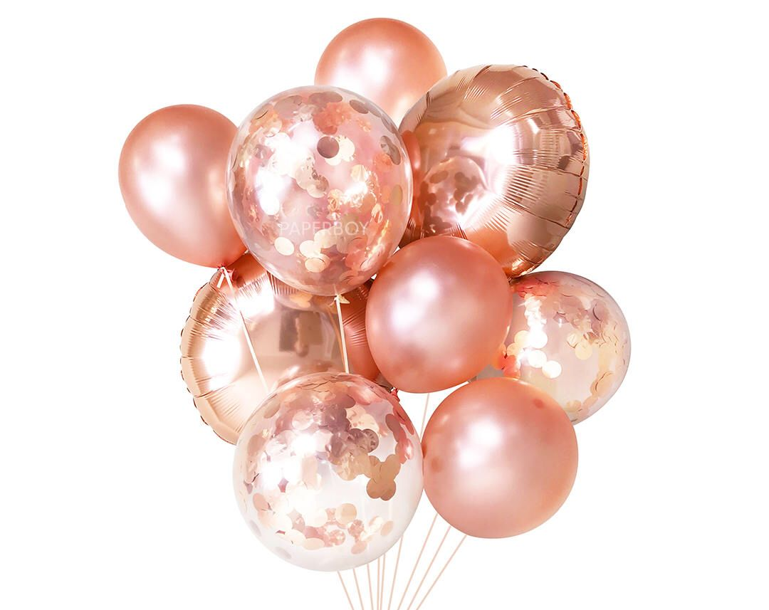 Fall outside wedding decoration ideas  Rose Gold Balloons  Balloon Bouquet Bundle with Confetti Balloons
