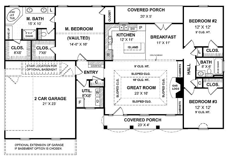 a simple one story house plan with two master wics big kitchen island