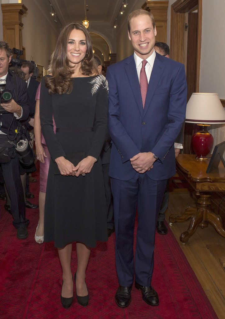 Kate Middleton kept with her new, more conservative look in a black Jenny Packham dress which was custom-made for her to include a silver fern leaf, which is New Zealand's national emblem.