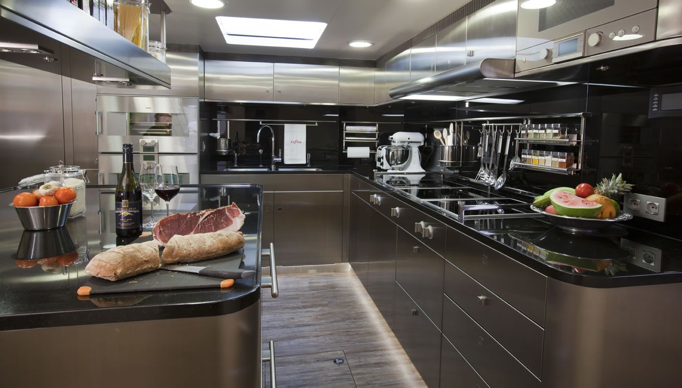 mega yachts interior kitchen | yacht zefira galley - sailing yacht, Innenarchitektur ideen