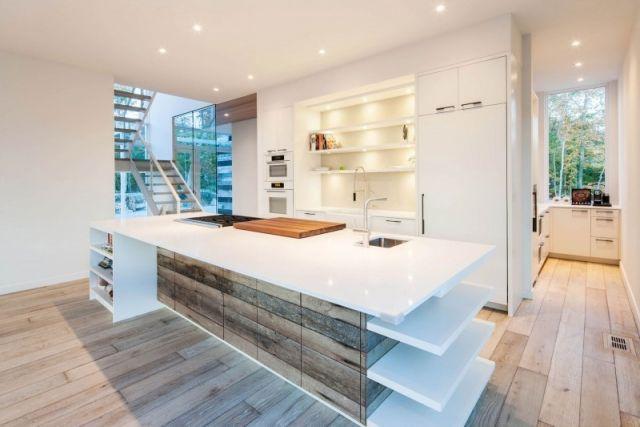 Arbeitsplatte Kunststoff holzboden küche integrierte hintergrundbeleuchtung arbeitsplatte