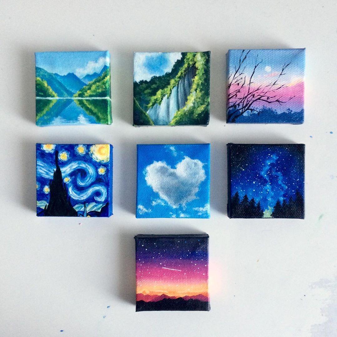 Pin By Arissa On Art Mini Canvas Diy Painting