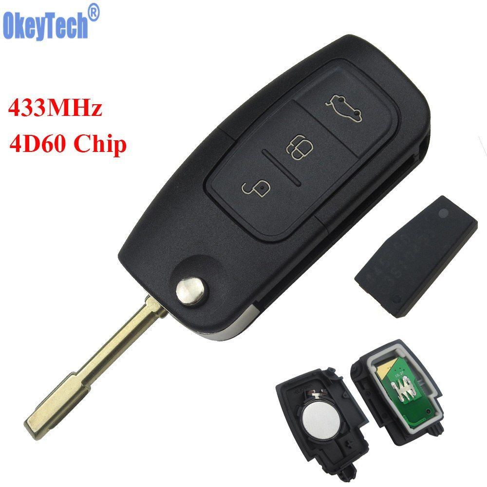 Okeytech 3 Buttons 433mhz 4d60 Chip Keyless Entry Fob Car Remote Key For Ford Mondeo Focus Fiesta Replacement Remote Key Case Key Keyless Fobs
