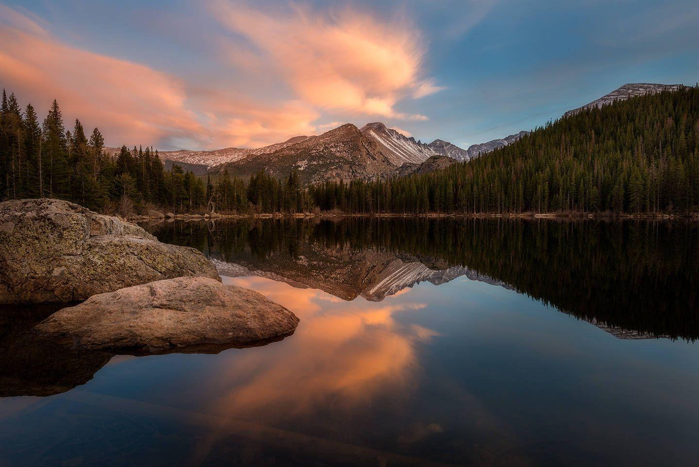 Bear Lake Rocky Mountain National Park Colorado Sunset Mountains Cloudy R Landscape Photography Tips Landscape Photography Tutorial Landscape Photography
