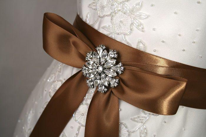 Brown Wedding Dress Sash With A Crystal Brooch Detail