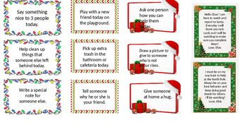 "These cards are editable for your particular group(s) of students.  My elf will be ""delivering"" one of these every day that he is in our class leading up to the Winter Holidays."