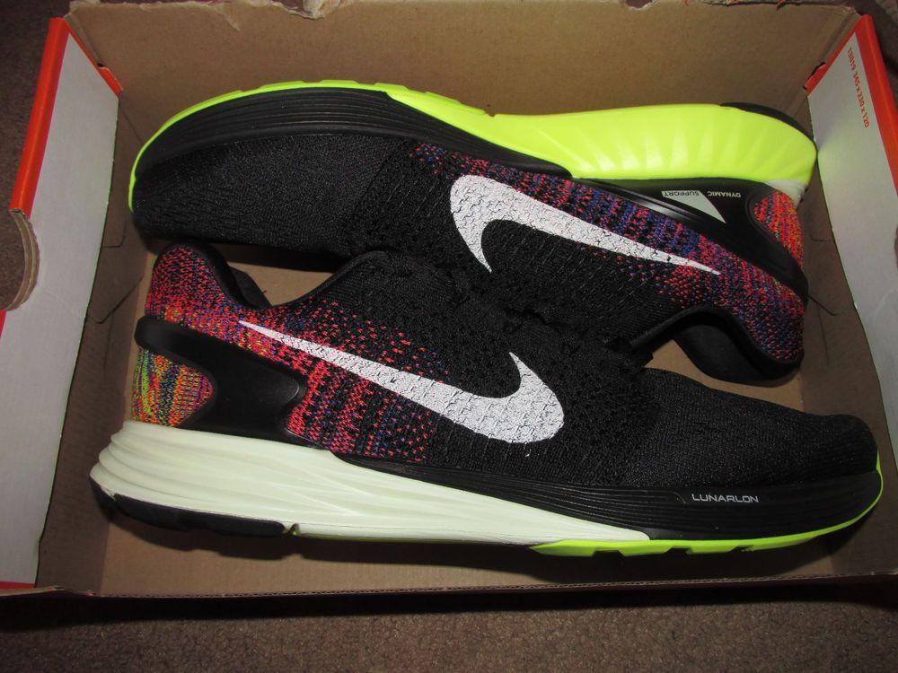 Nike Lunarglide 7 Mens Running Shoes 12.5 Black Bright Crimson Volt 747355  007