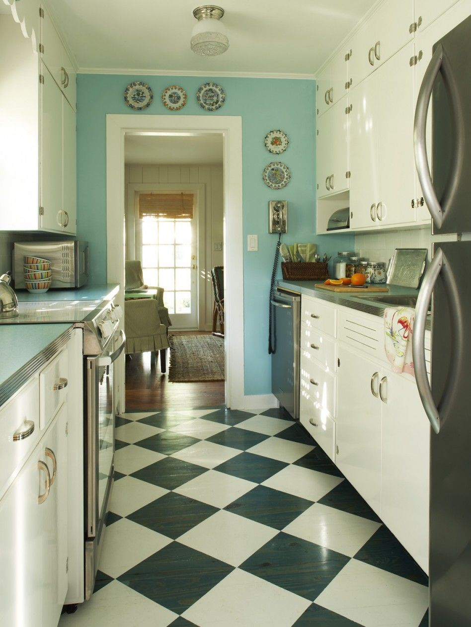 Light blue kitchen and black and white floor patern for Galley kitchen accessories