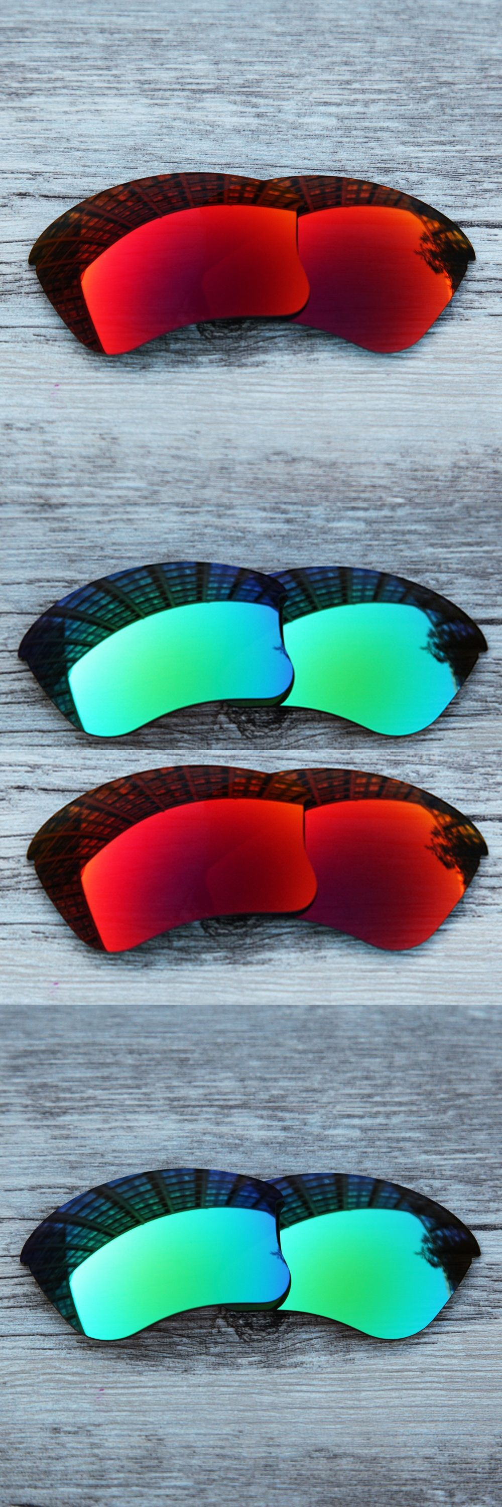 Inew polarized replacement lenses for Flak Jacket XLJ green and red ...