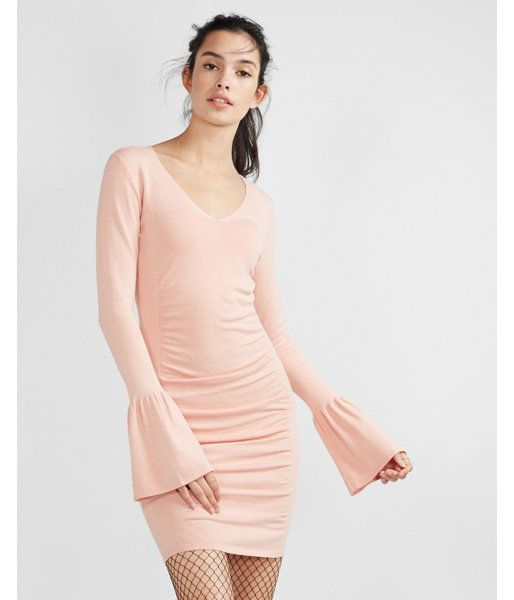 a570d8dba2 V-Neck Bell Sleeve Ruched Dress Pink Women's X Large   Products ...