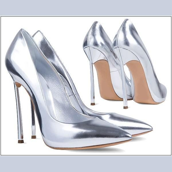 Best 4Inch Metal High Heels Gloss Silver And Champagne Gold Patent ...