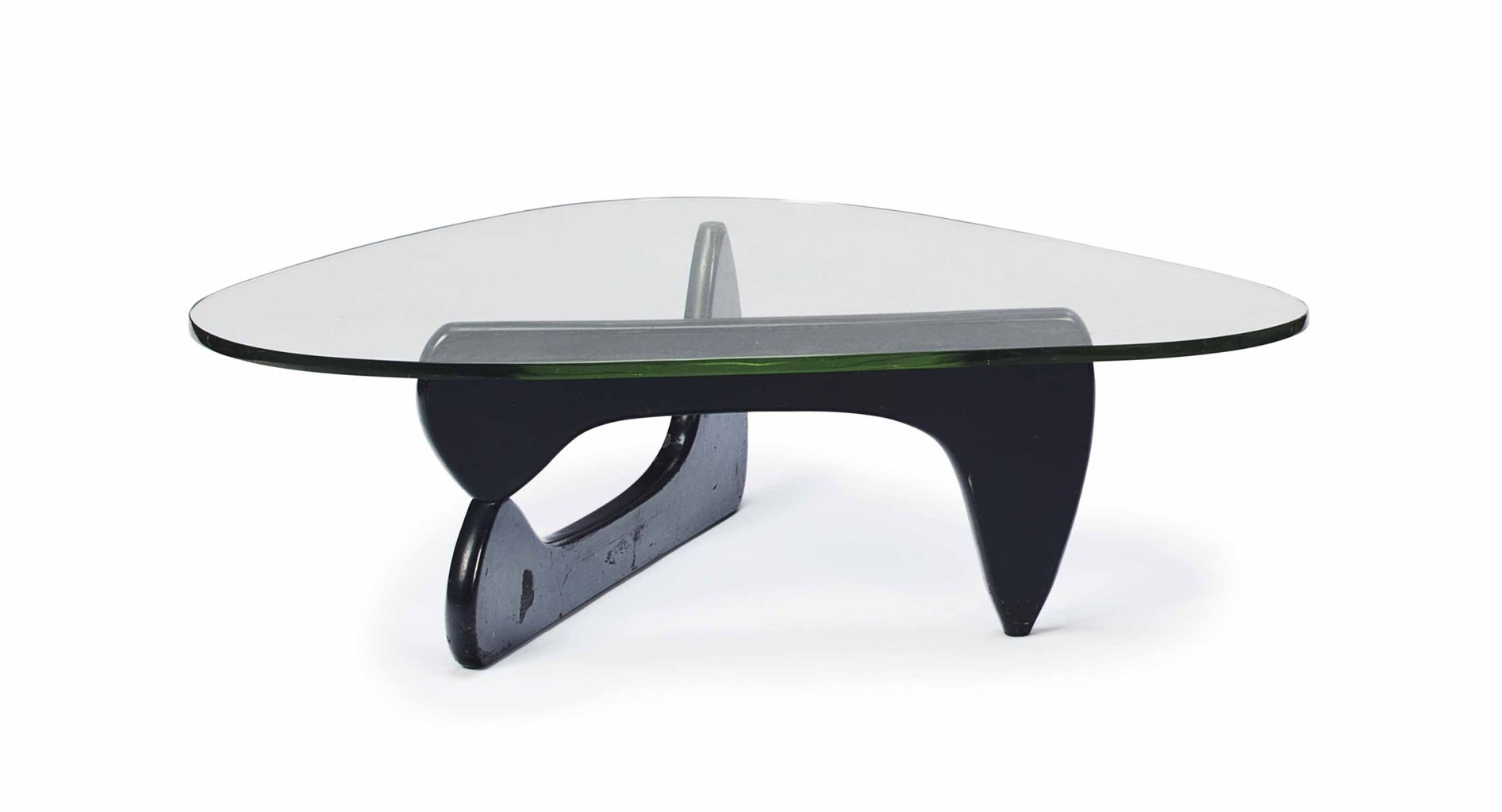 A MODEL IN 50 GLASS AND EBONIZED WOOD LOW TABLE AFTER A DESIGN BY