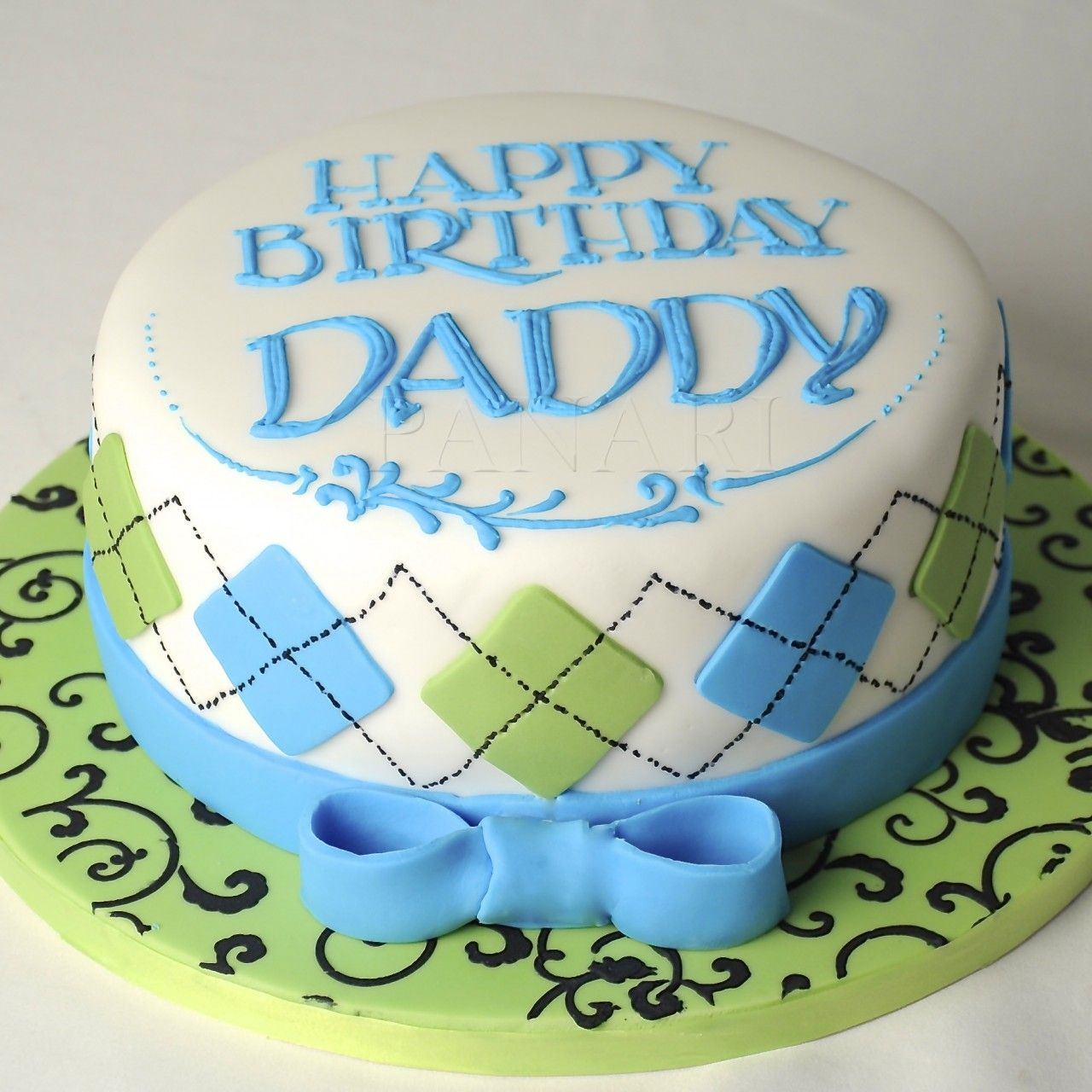 Argyle pattern cake cm0175 Happy birthday daddy Cake and Birthday