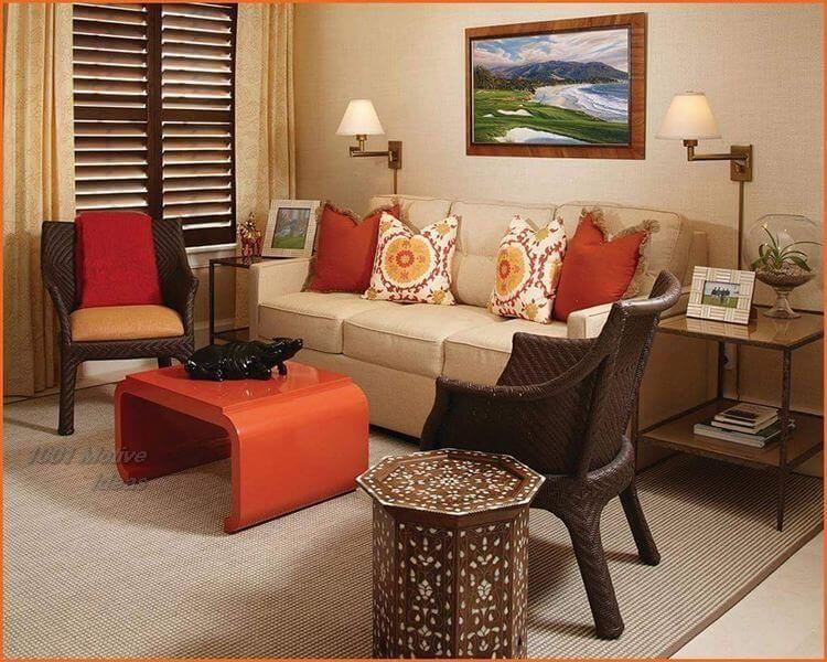 Ideas For A Perfect Home Decor Living Room Orange Living Room