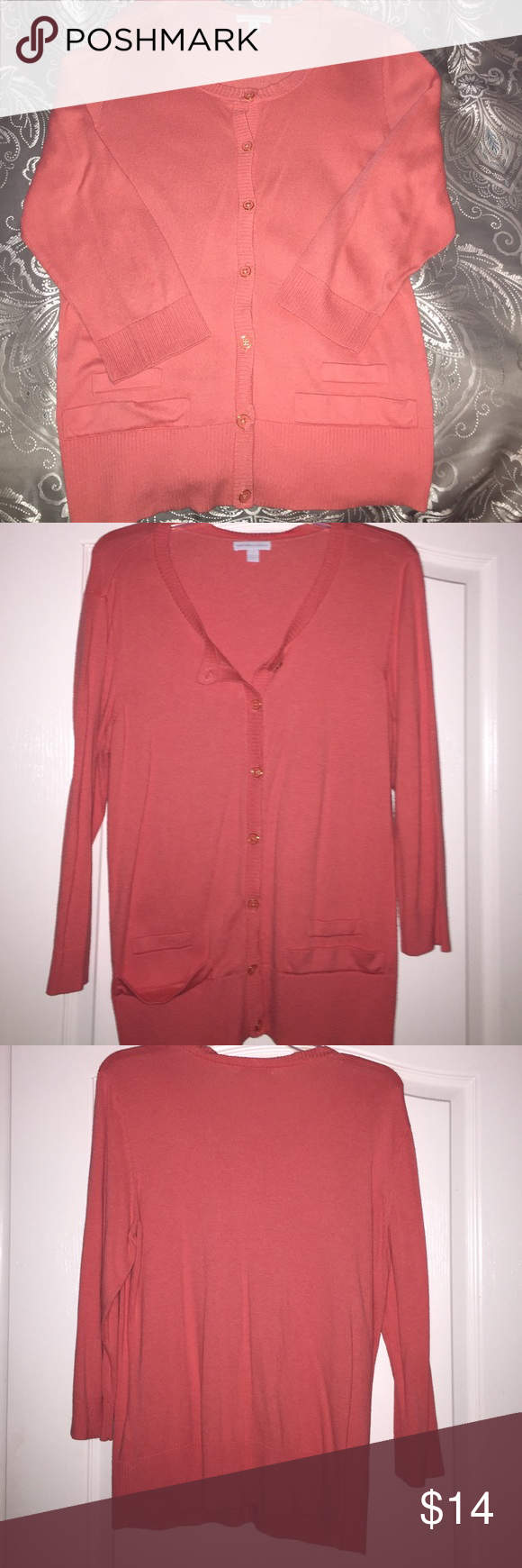 Coral cardigan/faux front pockets | Sweater cardigan, The o'jays ...