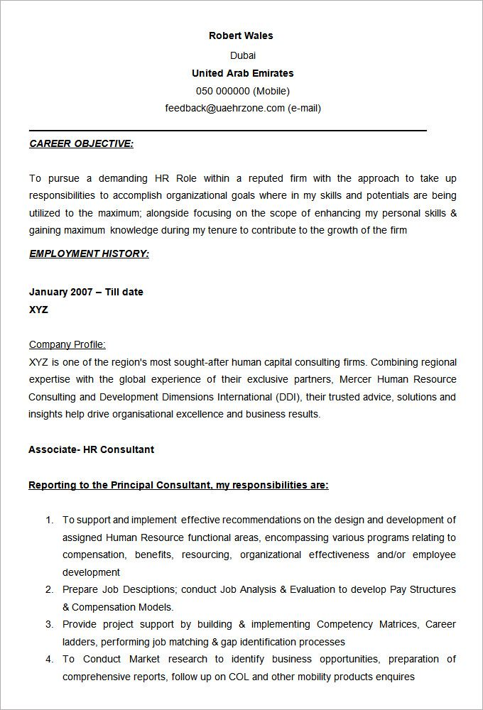 Word Resume Template Free Samples Examples Format Download