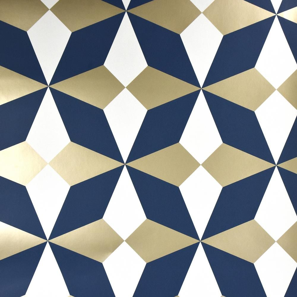 Fine Dcor Newby Navy Geometric Wallpaper, Blue