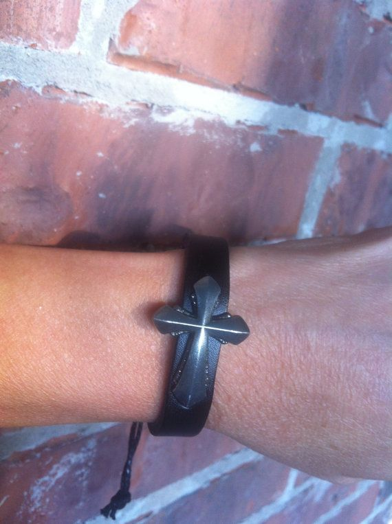 Black Leather Bracelet with Cross by Krazy4Kamo on Etsy, $8.00