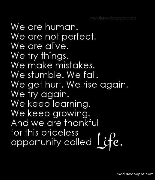 We Are Human We Are Not Perfect We Are Alive We Try Things We