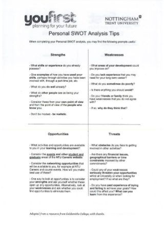Personal Swot Analysis Example  Example Swot Analysis Paper