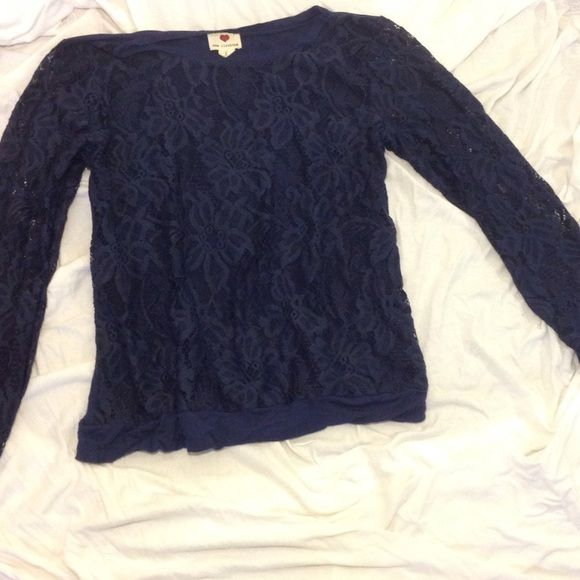 Long sleeve shirt Long sleeve lace shirt. Lace print in the front and a solid blue fabric in the back Tops Tees - Long Sleeve
