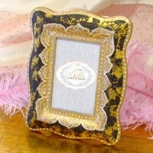Florentine Style Black And Gold 4x6 Frame Includes Easel Back