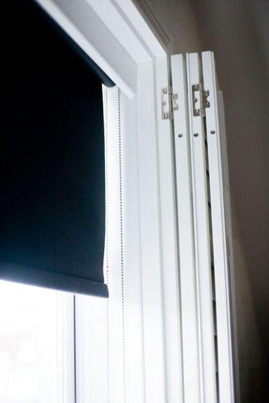 Black Out Blind Installed Behind Shutter Panels Blinds