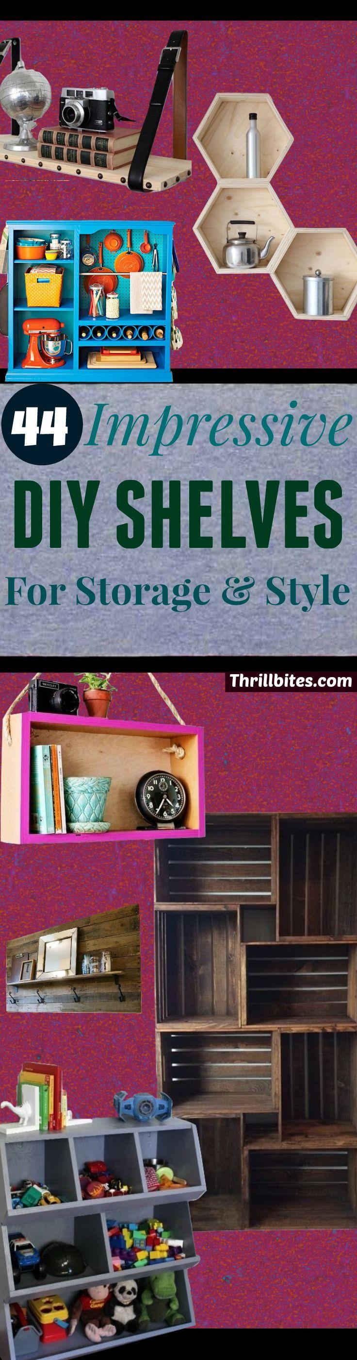44 Impressive DIY Shelves For Storage & Style | DIY Projects & Crafts | Ideas | Easy DIY Floating Shelves for bathroom,bedroom,kitchen,closet | DIY bookshelves and Home Decor Ideas