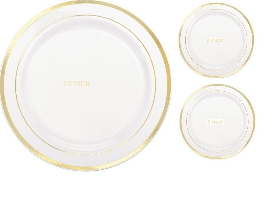 Wedding / Dinner / Party Disposable Plastic Plates white With Gold Rim #Unbranded  sc 1 st  Pinterest & Wedding / Dinner / Party Disposable Plastic Plates white With Gold ...