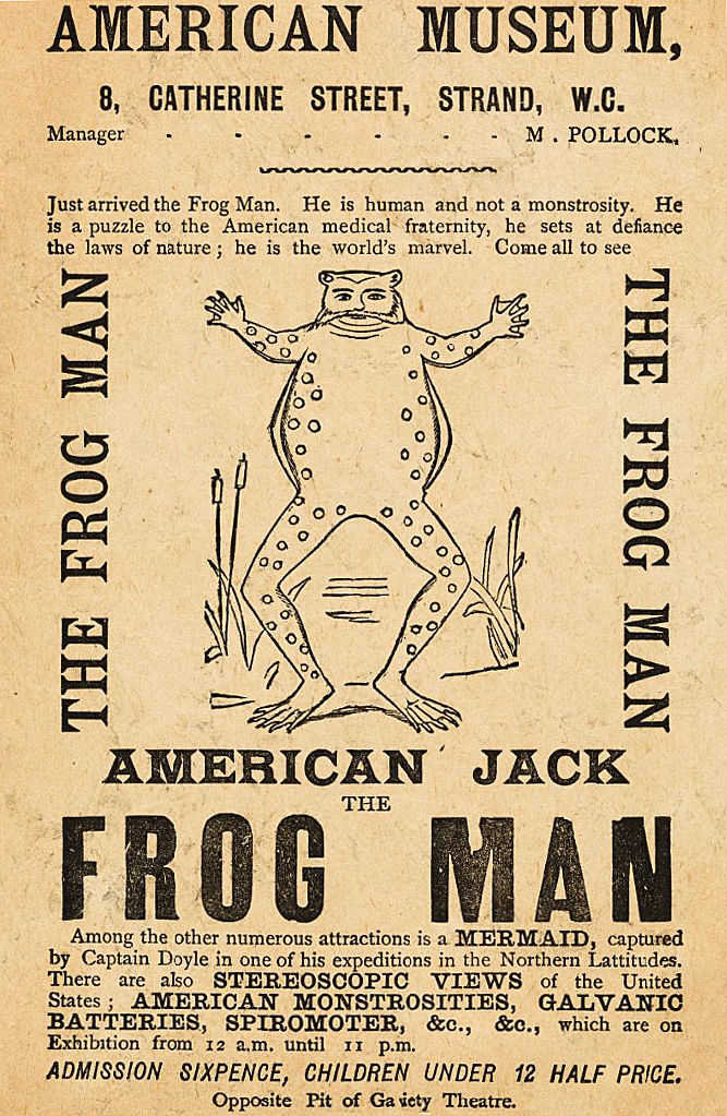 A handbill showcasing American Jack the Frog Man 1888from the Wellcome Museum