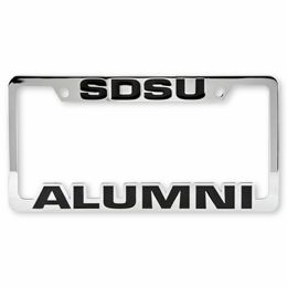 chrome license plate frame featuring sdsu alumni 3195