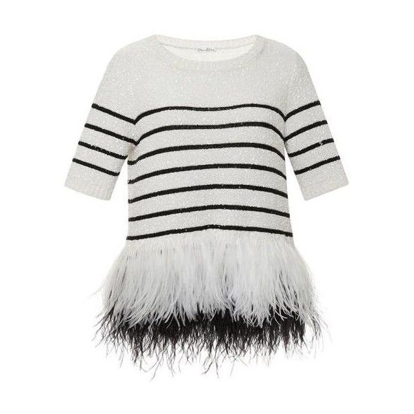 Oscar de la Renta Striped Feather Hem Sweater (€2.815) ❤ liked on Polyvore featuring tops, sweaters, embellished tops, white embellished top, stripe sweater, embellished sweater and silk top