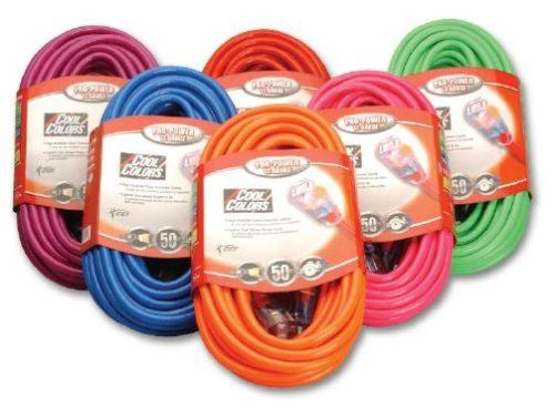 Ok Looks Like I Finally Found Colored Extensions Cords Coleman Cable 02578 0a 50 Feet 12 3 Neon Outdoor Ex Bright Pink Outdoor Extension Cord Extension Cord