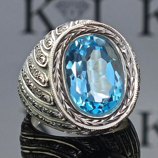 ringe blauer topas herrenring silber handgefertigt ein designerst ck von karajewels bei. Black Bedroom Furniture Sets. Home Design Ideas