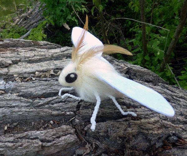 Die Motte Hat Eine Flugelspannweite Von Ca 20 Cm Die Fuhler Sind Huhnerfedern Und Die Fusse Aus Pfeifenreiniger Motte Tiere Insekten