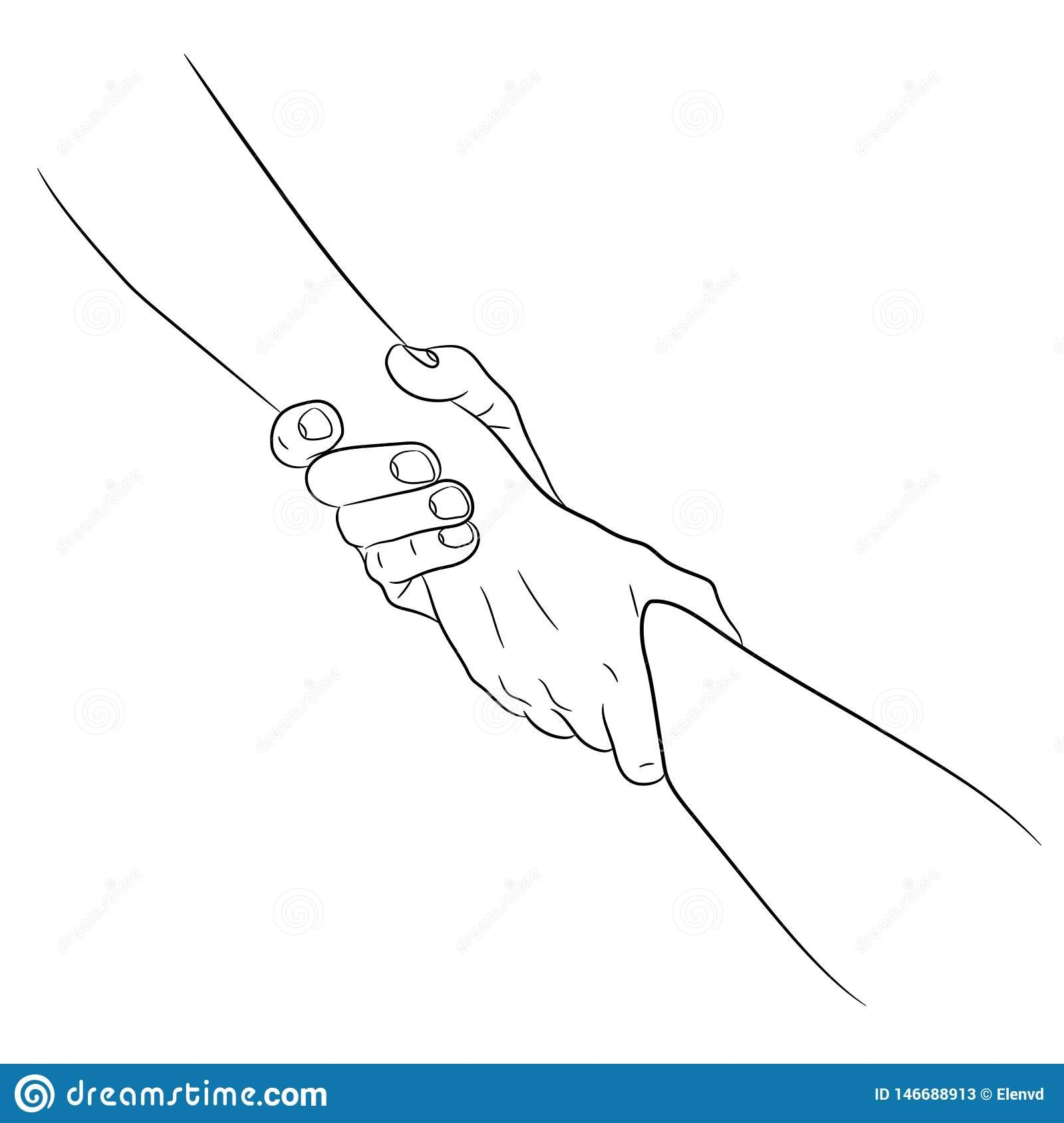 Illustration About Two Hands Taking Each Other Helping Hand Concept Pull Drag From The Contour Black Brush Line How To Draw Hands Two Hands Tattoo Hand Doodles Get inspired for two hands holding each