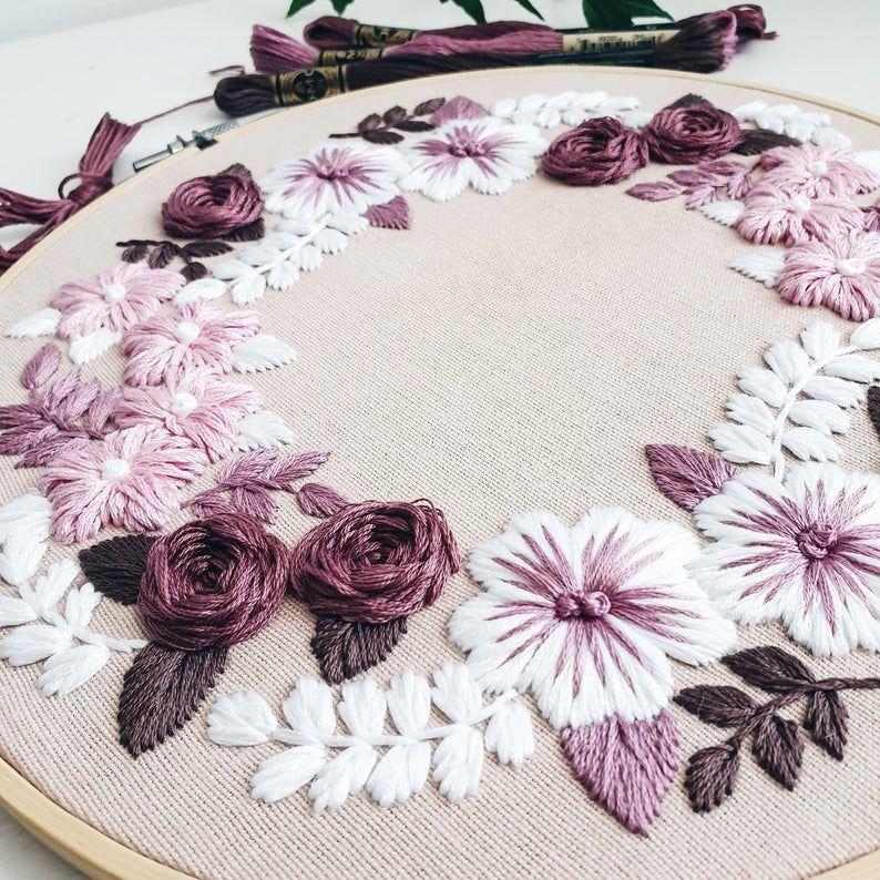 Hand embroidery pattern - Embroidery pattern - Embroidery designs - Embroidery hoop - PDF embroidery pattern - Beginner embroidery pattern