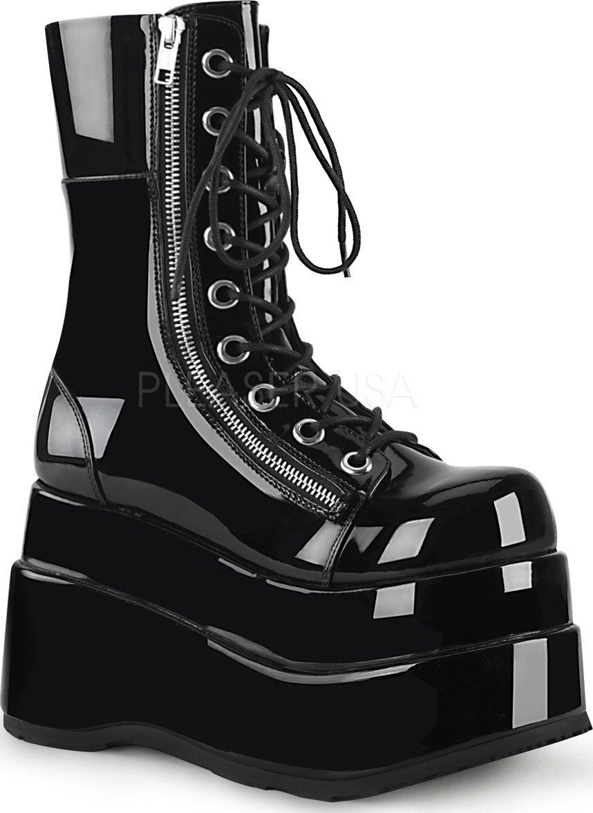 """PLEASER Demonia Shaker-72 4 1//2/"""" Wedge Platform Lace-Up Front Mid-Calf Boot"""