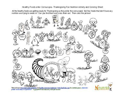 Free Thanksgiving-themed coloring and nutrition activity