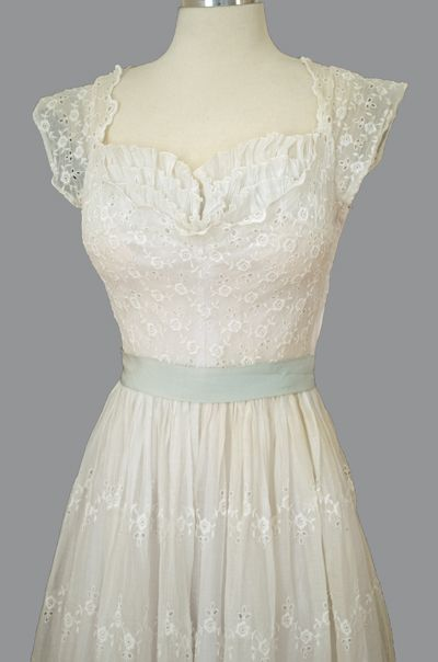 6ee198f9b2a Vintage 1950s White Lace Eyelet Delicate Dress Shelf Bust Scoop Back ...