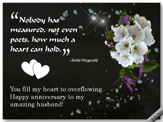 An anniversary ecard for your husband with a quote about love