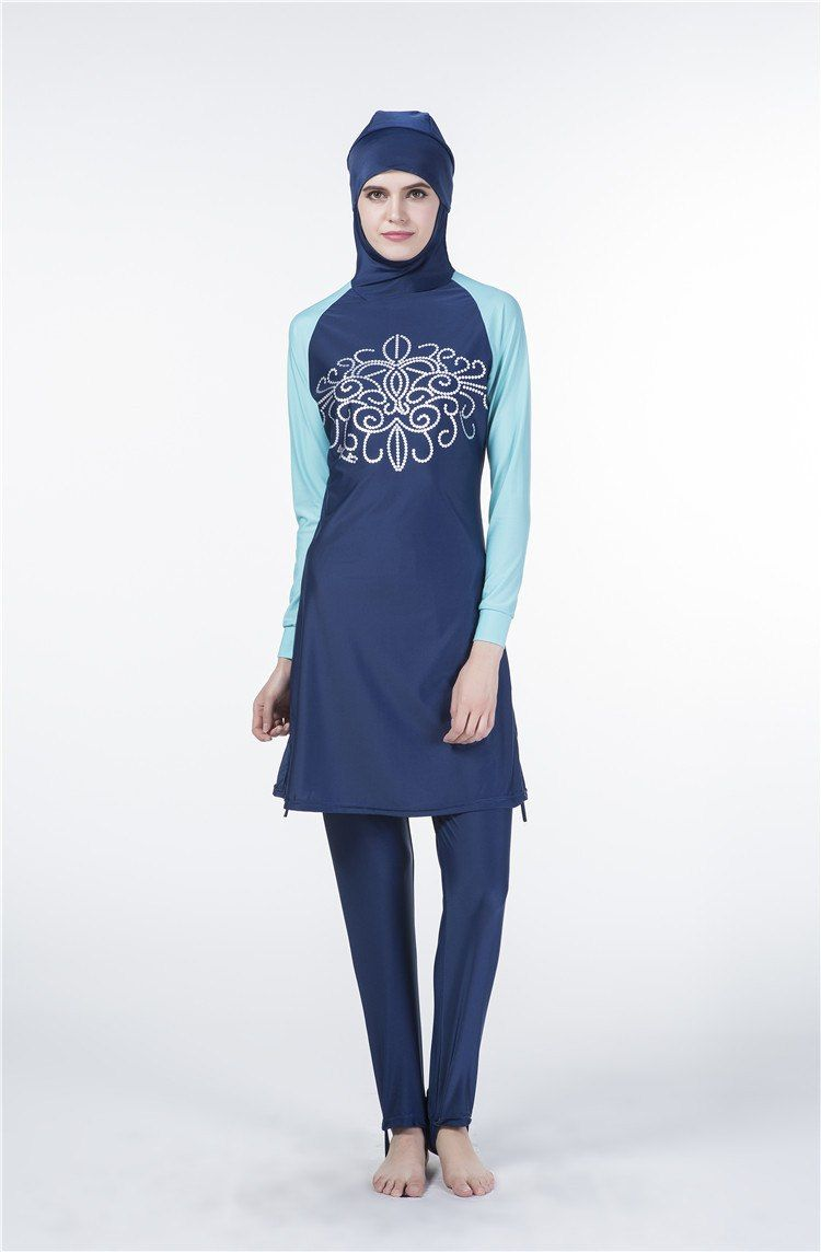 7214c0ee64 It's beach time! Modest Muslim covered hijab swimsuit in blue, pink and  black