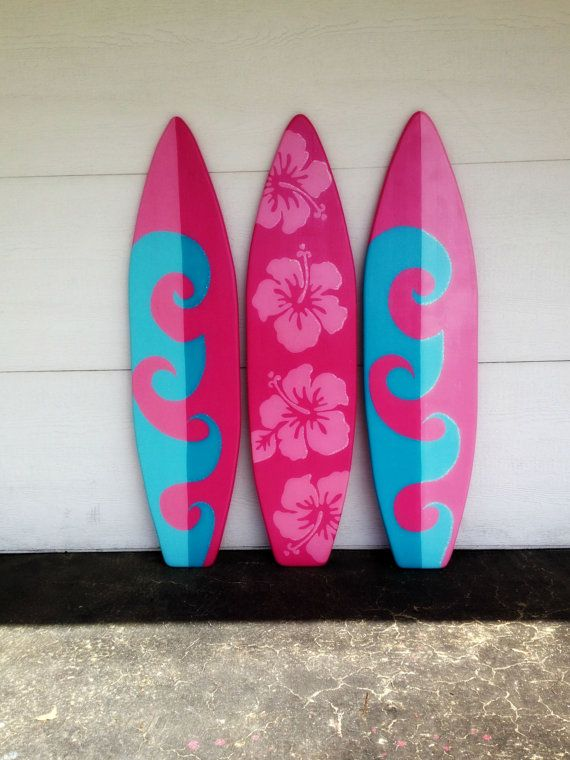 Three of my 4 foot wood hawaiian wall art decor surfboards for Decoracion de surf