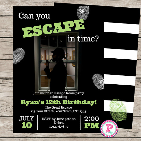 Escape Room Birthday Party Invitation Game Mystery Detective Spy