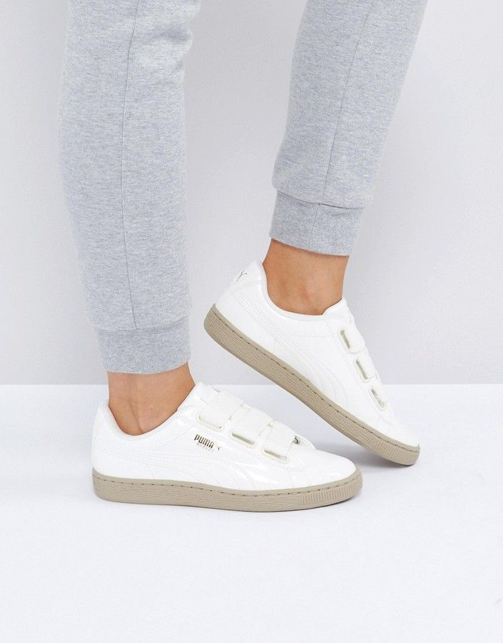 6174289eecf9 Puma Basket Heart Sneakers In Patent Marshmallow