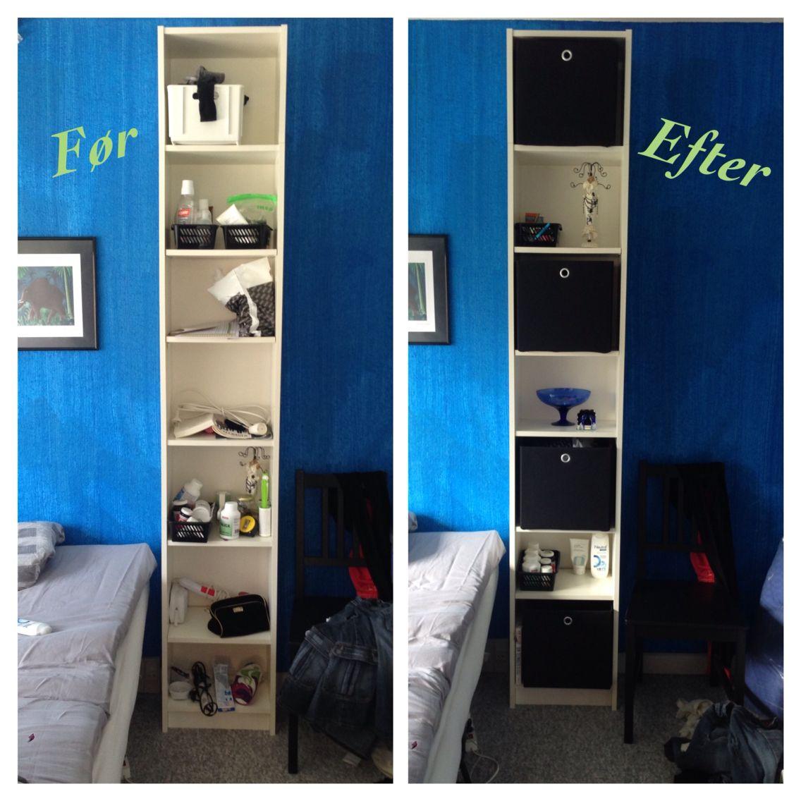 Soveværelse. IKEA Billy reol med kasser fra Jysk sengetøjslager ...