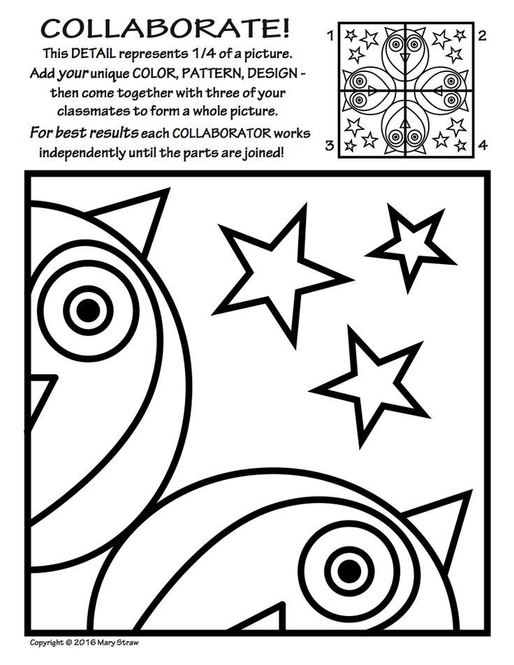 Radial Symmetry Collaborative Activity Coloring Pages Art